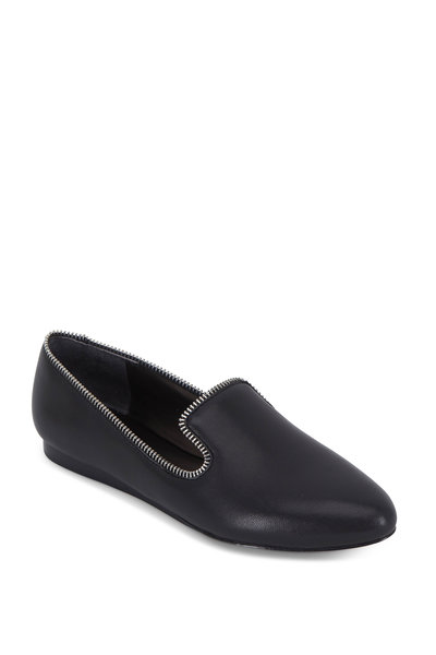 Veronica Beard - Griffin Black Leather Zip Detail Loafer