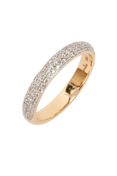 Syna - Yellow Gold White Diamond Stack Band