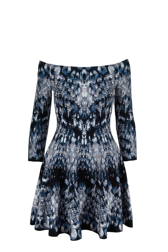 Alexander McQueen Blue English Crystal Jacquard Elbow Sleeve Dress