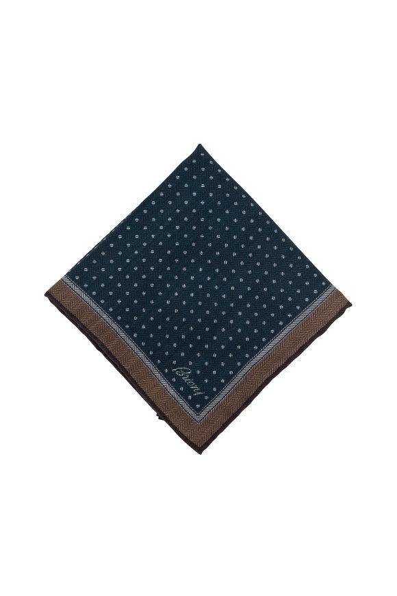 Brioni Green Dot Wool & Silk Pocket Square