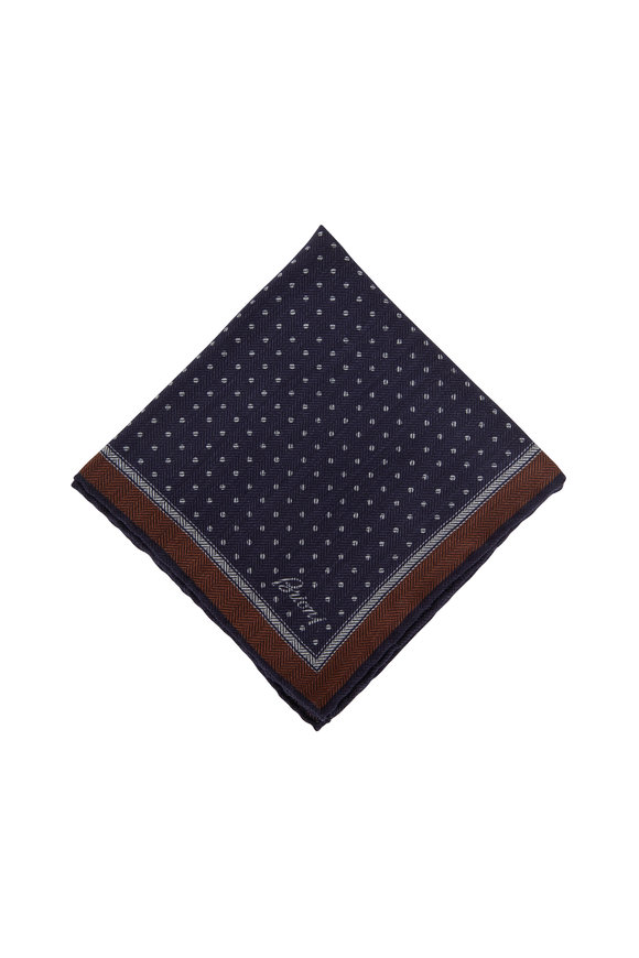 Brioni Navy Blue Dot Wool & Silk Pocket Square