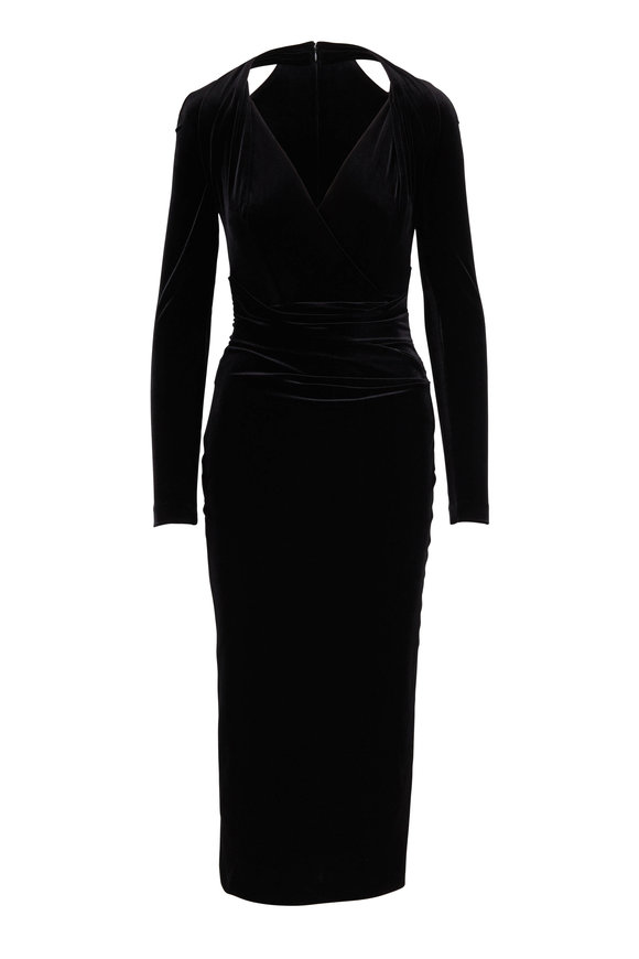 Talbot Runhof Tosia2 Black Velvet Cold Shoulder Cocktail Dress