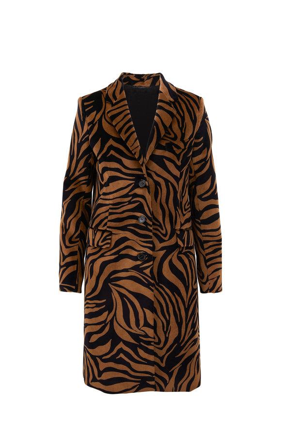 Nili Lotan Rosalin Small Bronze Tiger Print Coat
