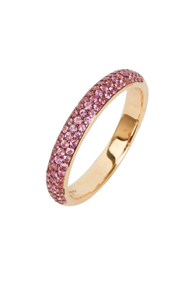 Syna - Yellow Gold Pink Sapphire Band