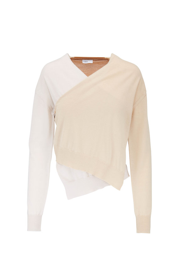 Rosetta Getty Camel & Tan Wrap Front Wool Sweater