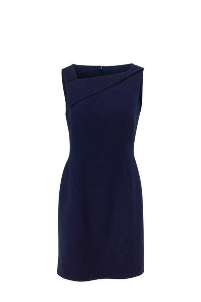 Oscar de la Renta - Navy Blue Asymmetric Neck Sleeveless Dress