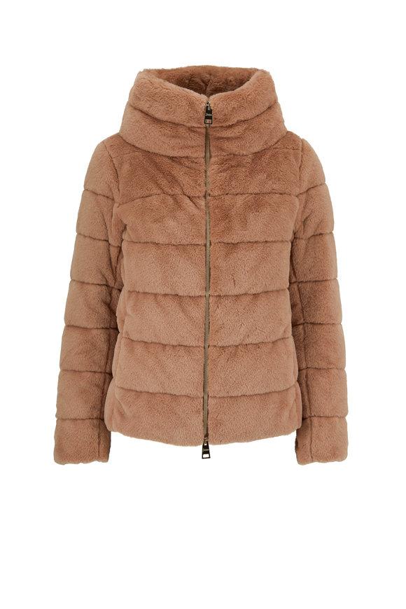 Herno Camel Faux Fur Down Jacket