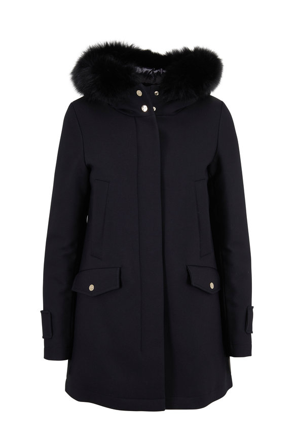 Herno Black City Glam A-Line Jacket With Fur
