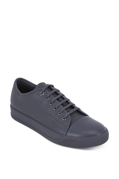 Lanvin - Dark Gray Grained Leather Cap-Toe Sneaker