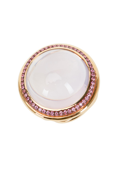 Syna - Rose Gold Lavender Moon Quartz Pink Sapphire Ring
