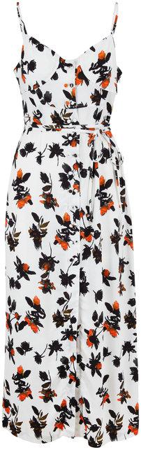 Derek Lam White Floral Print Belted Tank Dress