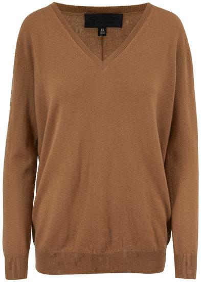 Nili Lotan Kendra Camel Cashmere V-Neck Sweater
