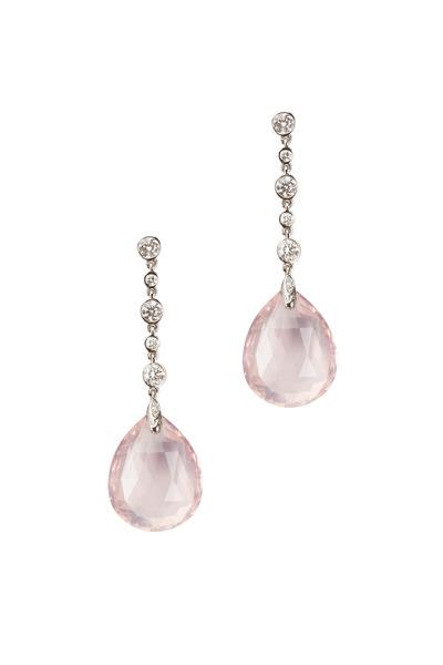 Syna - White Gold Rose Quartz Diamond Earrings