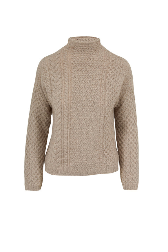 Jumper 1234 Light Brown Cashmere Cable Knit Sweater