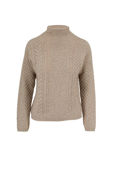 Jumper 1234 - Light Brown Cashmere Cable Knit Sweater