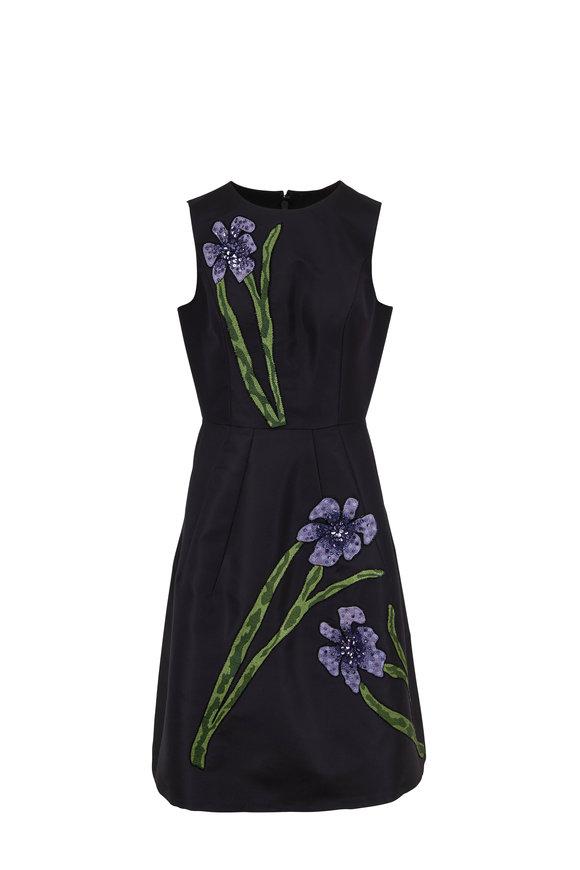 Carolina Herrera Black Flower Embroidered Sleeveless A-Line Dress
