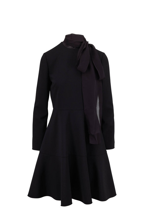 Valentino Black Tie Neck Long Sleeve Dress