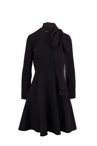 Valentino - Black Tie Neck Long Sleeve Dress
