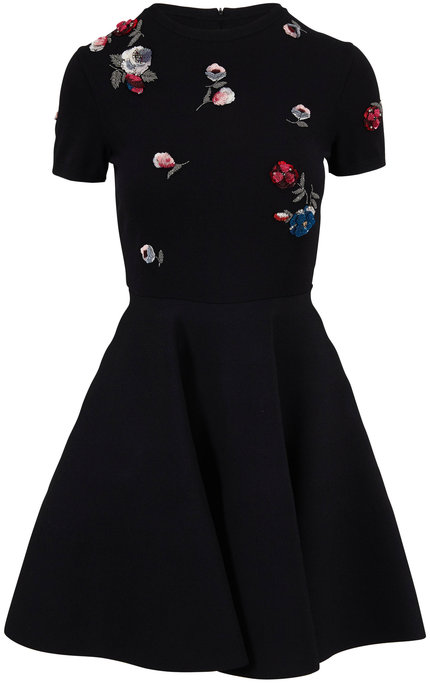 Valentino Black Embroidered Flowers Knit Short Sleeve Dress