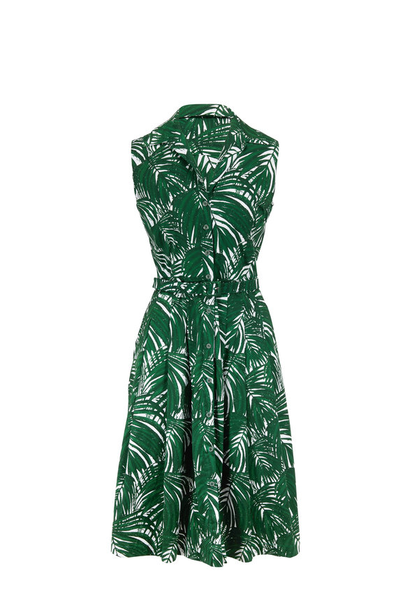 Samantha Sung Audrey 3 Ivy Maui Palm Sleeveless Belted Dress