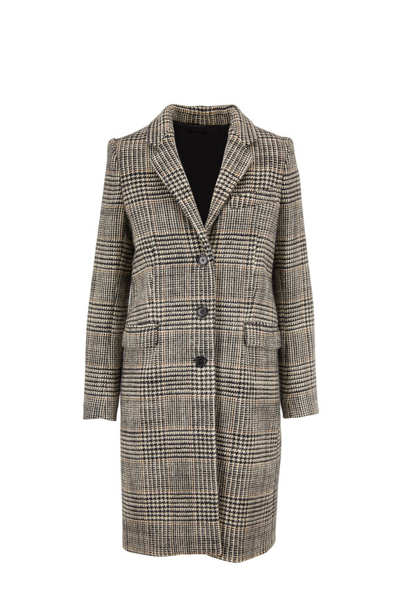 Nili Lotan Rosalin Black, Ivory & Brown Plaid Wool Coat