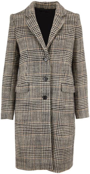 Nili Lotan Rosalin Black, Ivory & Brown Plaid Wool Coat