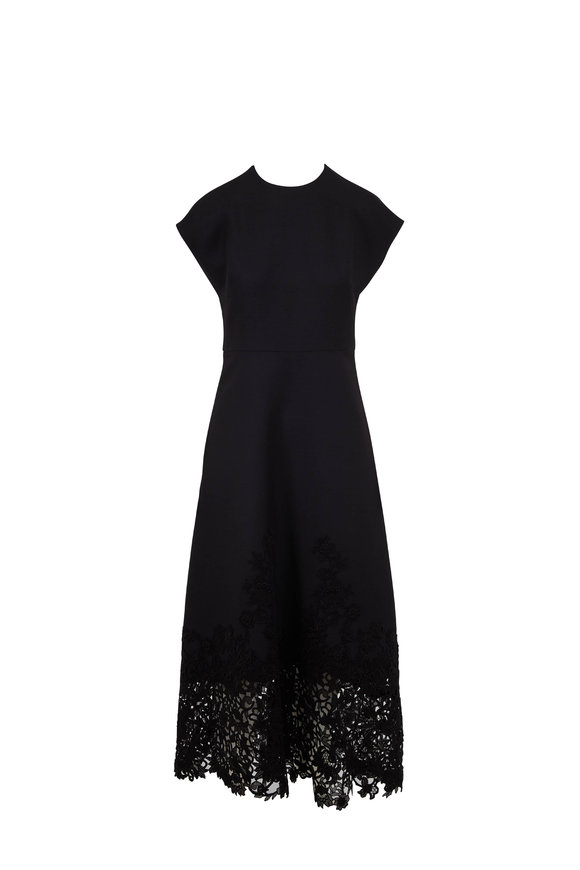 Valentino Black Embroidered Lace Hem Cap Sleeve Dress