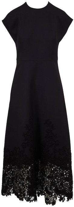 Valentino Black Embroidered Lace Hem Cap Sleeve Dress