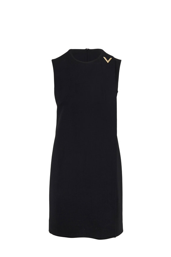 Valentino V Logo Black Stretch Wool Sleeveless Dress