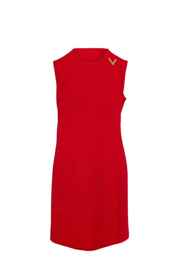 Valentino V Logo Red Stretch Wool Sleeveless Dress