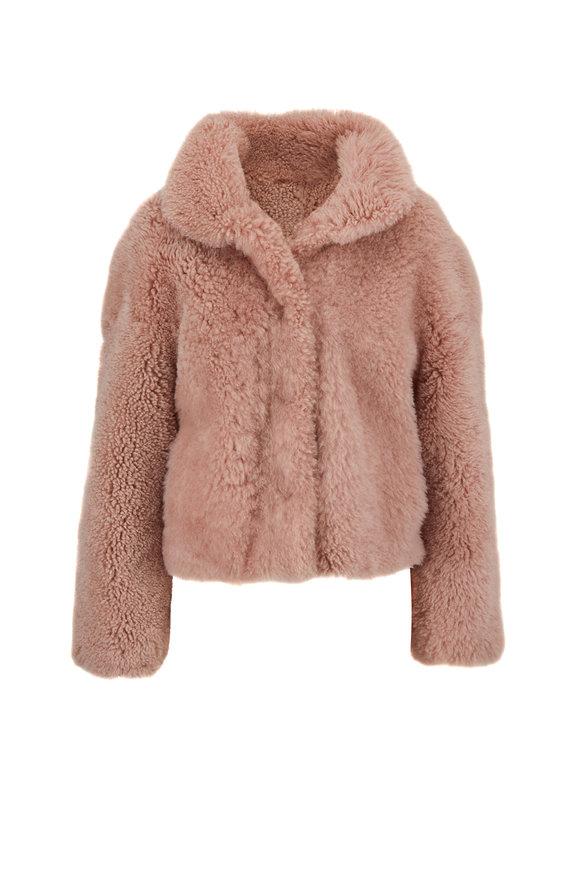 Oscar de la Renta Furs Blush Dyed Savanna Shearling Cropped Jacket