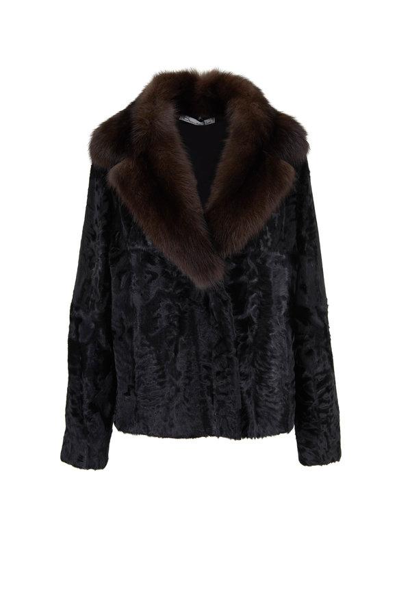 Oscar de la Renta Furs Black Lambswool & Sable Fur Collar Jacket