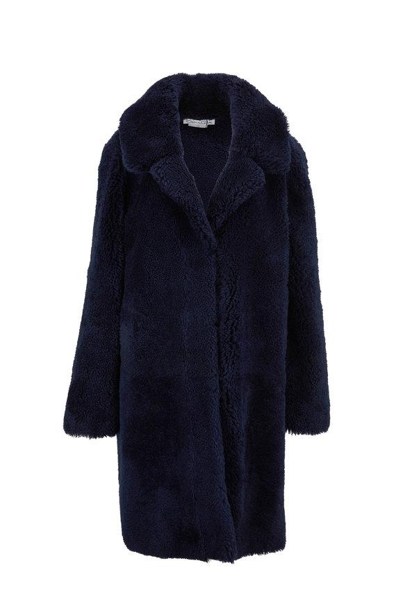 Oscar de la Renta Furs Dark Navy Savanna Shearling Notch Collar Coat
