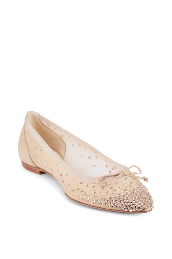 Christian Louboutin Nude Nappa Leather & Mesh Glitter Ballet Flat