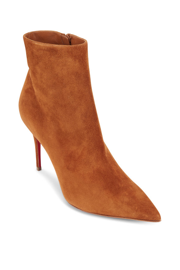 Christian Louboutin So Kate Cinnamon Suede Thin Heel Bootie, 85MM