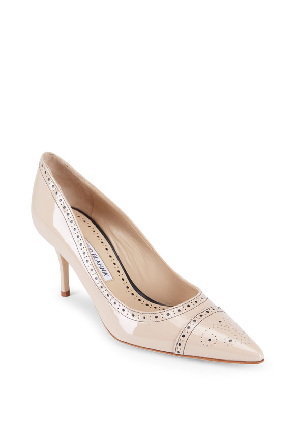 Manolo Blahnik Quitohi Spectator Nude Patent Leather Pump, 70MM