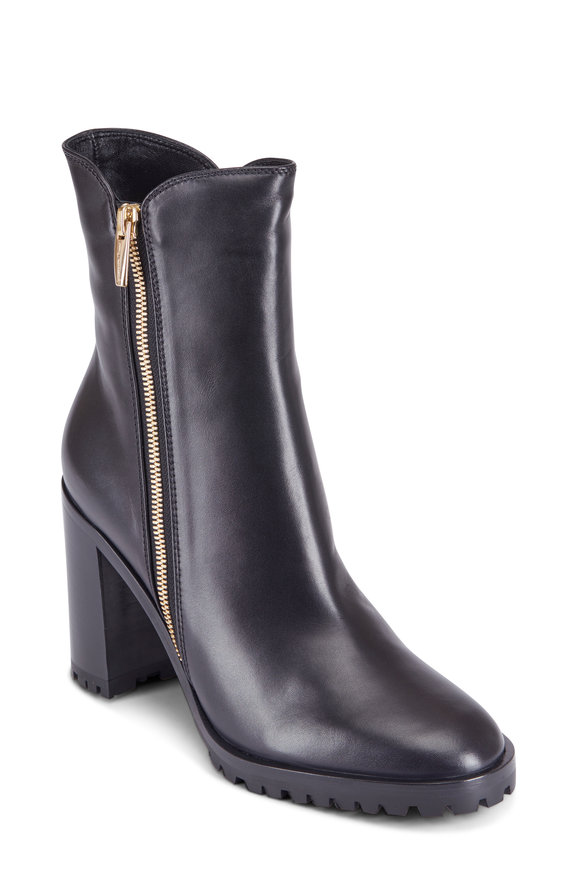 Gianvito Rossi Black Leather Side Zip Stacked Heel Boot, 85MM