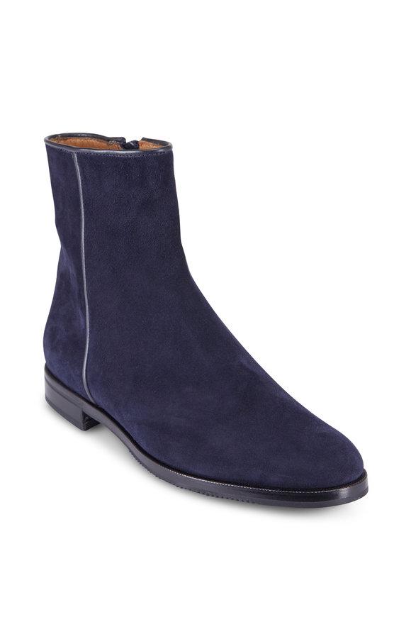 Gravati Navy Velukid Flat Ankle Boot