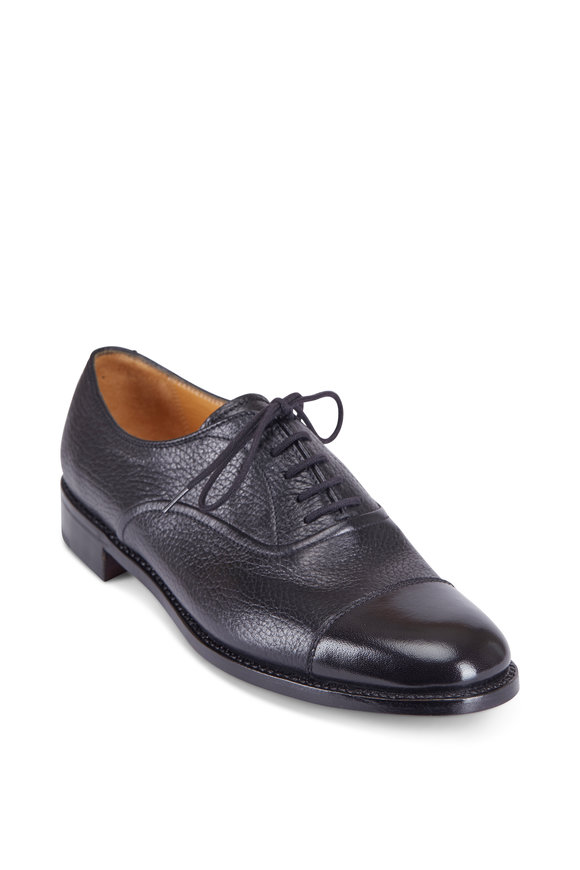 Gravati Black Leather Burnish Captoe Shoe