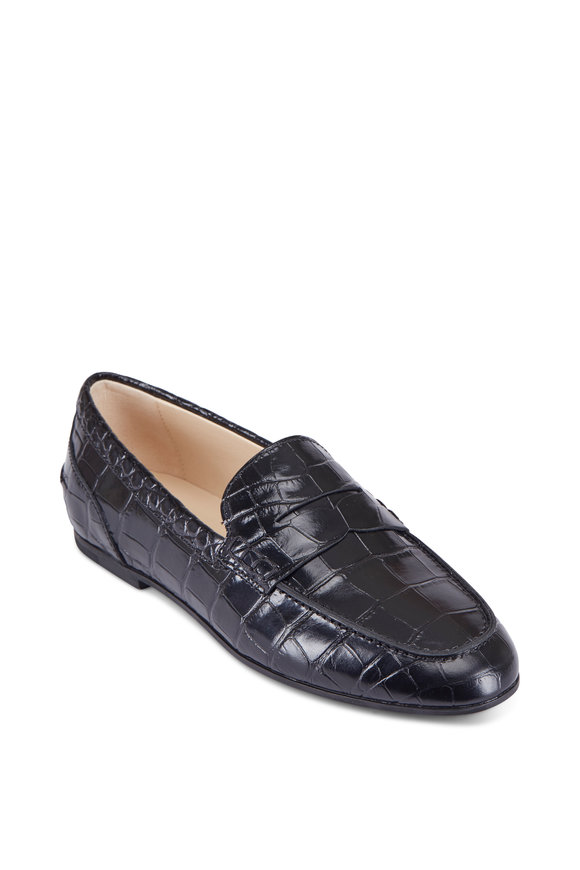 Tod's Black Crocodile Embossed Leather Penny Moccasin