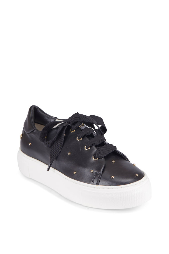 AGL Black Gold Studded Lace-Up Sneaker