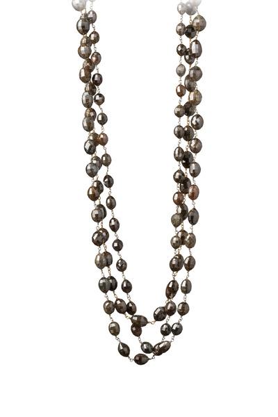 Kathleen Dughi - White Gold Black Diamond Bead Necklace