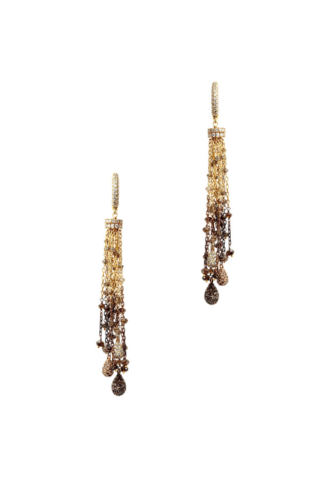 Yellow Gold Cognac & White Diamond Tassel Earrings