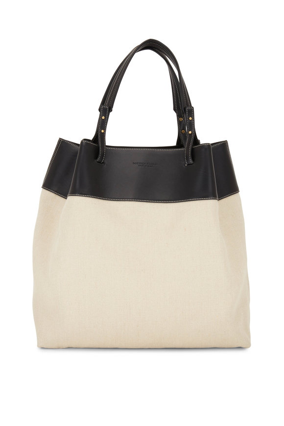 Bottega Veneta Natural Linen & Black Leather Large Tote