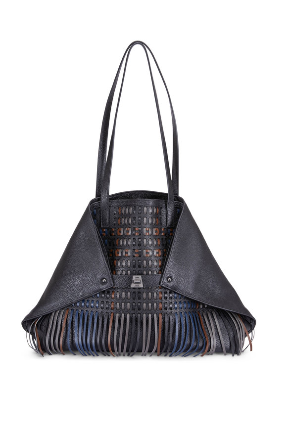 Akris Black & Multicolor Lazercut Fringe Tote