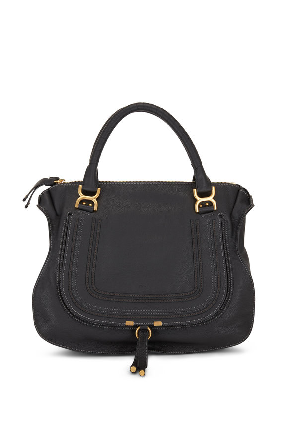 Chloé Marcie Black Grained Leather Large Top Handle Bag