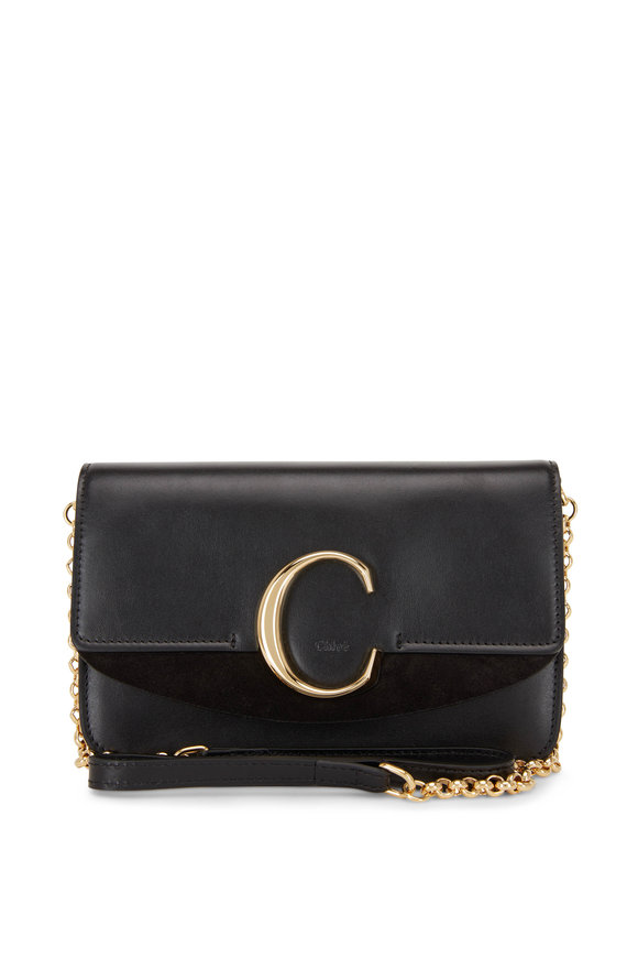 Chloé C-Logo Black Leather Small Shoulder Bag