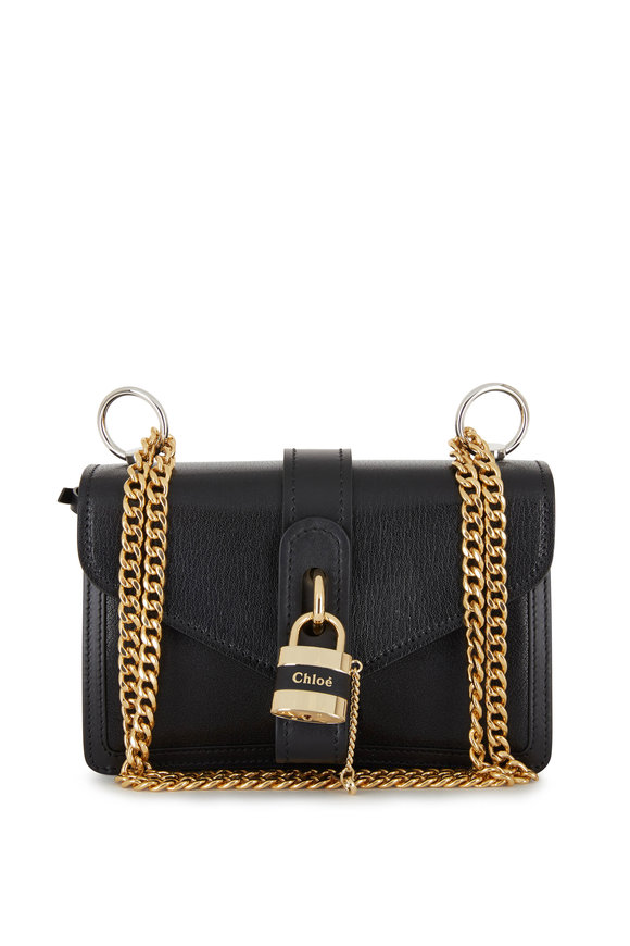 Chloé Aby Black Padlock Small Envelope Shoulder Bag