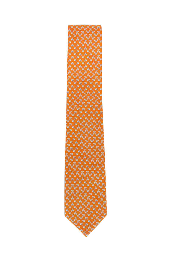 Salvatore Ferragamo Orange Bull Pattern Silk Necktie