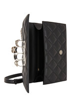 Alexander McQueen - Black Quilted Four-Ring Jeweled Large Knuckle Bag